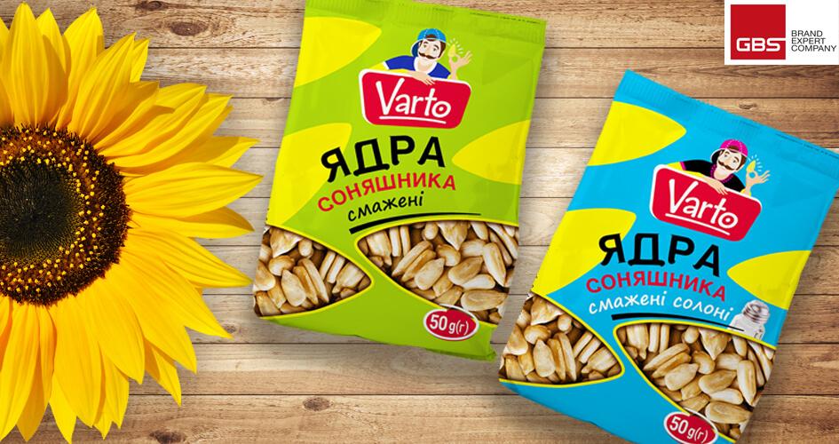 Дизайн упаковки семечек для СТМ VARTO (сеть супермаркетов VARUS) от GBS Brand Expert Company