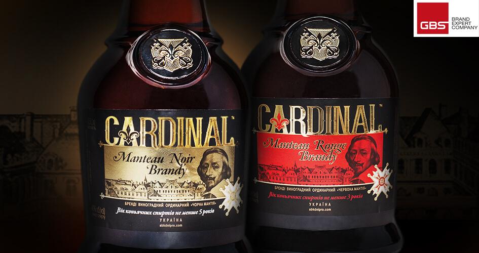 Розробка концепції дизайну пляшки та етикетки для коньяку ТМ Cardinal від GBS Brand Expert Company